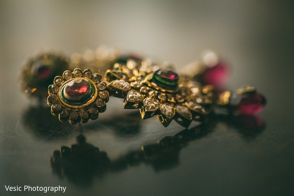Earrings in Greensboro, NC Indian Wedding by Vesic Photography