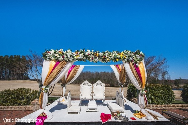 Ceremony Decor in Greensboro, NC Indian Wedding by Vesic Photography