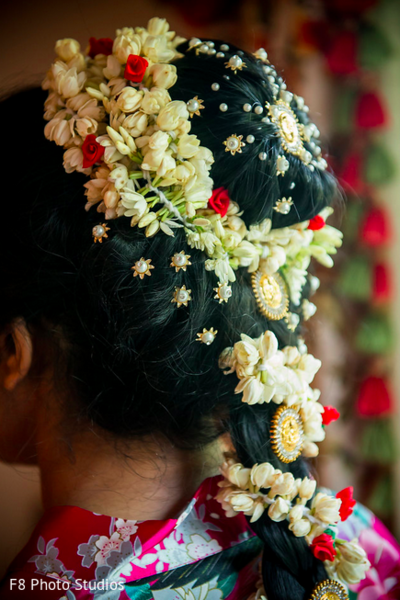 South Indian Bridal Hairstyle in Durham, NC Indian Fusion Wedding by F8 Photo Studios