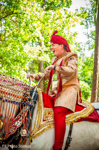 Baraat in Durham, NC Indian Fusion Wedding by F8 Photo Studios