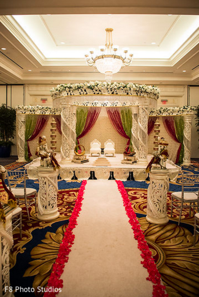 Ceremony Decor in Durham, NC Indian Fusion Wedding by F8 Photo Studios