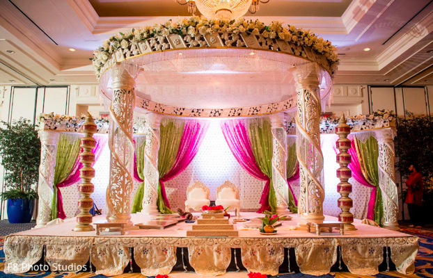 Mandap in Durham, NC Indian Fusion Wedding by F8 Photo Studios