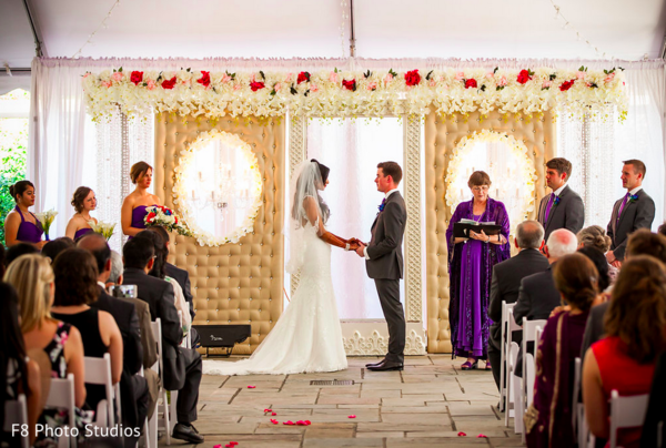 Ceremony in Durham, NC Indian Fusion Wedding by F8 Photo Studios