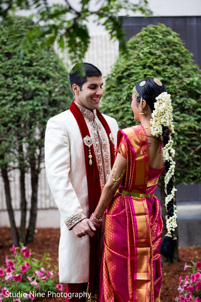 first look,first look portraits,bridal fashion,sari,groom fashion,sherwani,hair