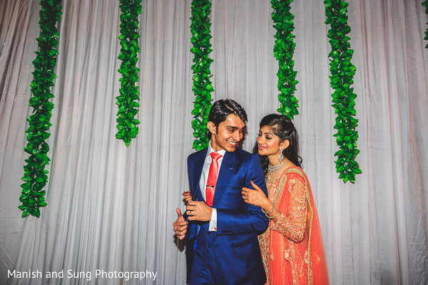 Reception Portrait in Mumbai Indian Wedding by Manish and Sung Photography