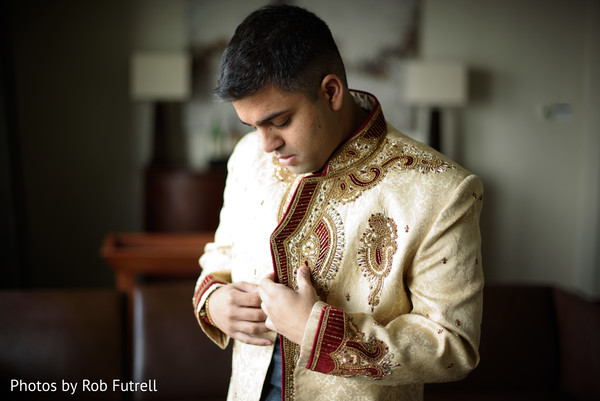 Groom Getting Ready in Philadelphia, PA Indian Wedding by Photos by Rob Futrell