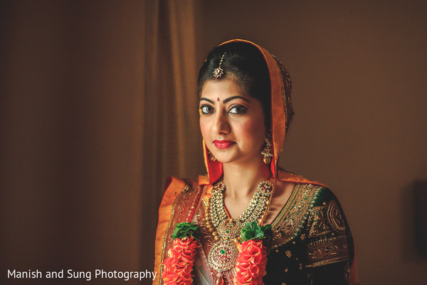 Bridal Portrait in Mumbai Indian Wedding by Manish and Sung Photography