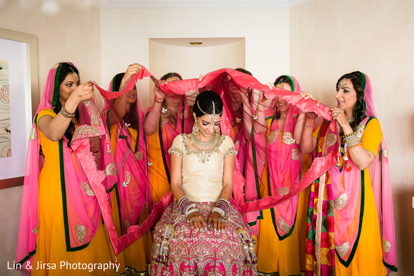 getting ready,bridesmaids,bridal party,dupatta