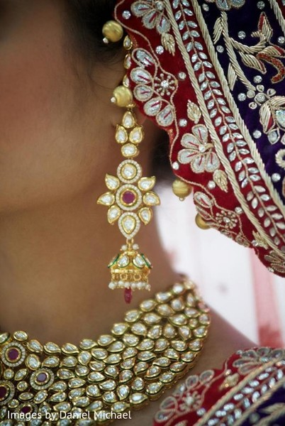 Earrings in Indianapolis, IN Indian Wedding by Images by Daniel Michael