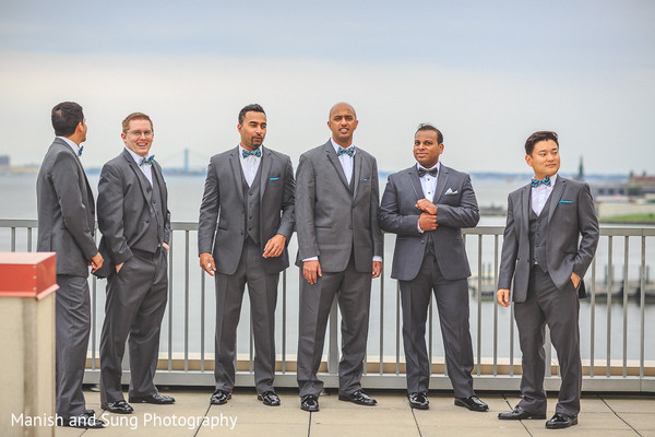Groomsmen Portrait in Jersey City, NJ Indian Wedding by Manish and Sung Photography