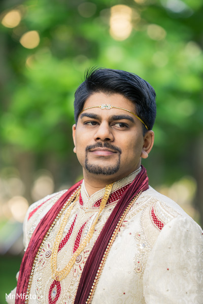 Groom Portrait in Houston, TX Indian Wedding by MnMfoto