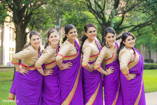 Bridal Party Portrait in Houston, TX Indian Wedding by MnMfoto