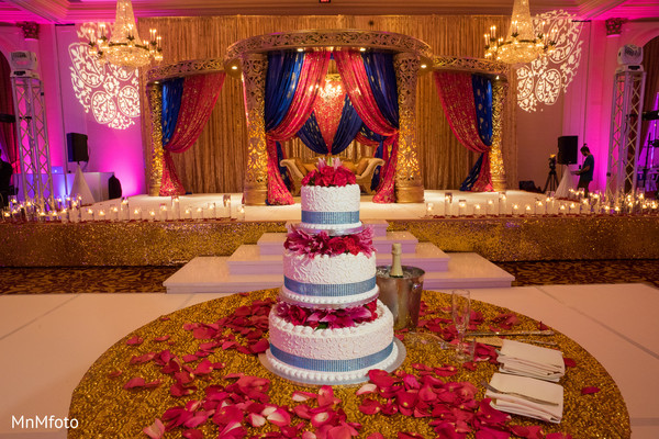 Reception Decor & Wedding Cake in Houston, TX Indian Wedding by MnMfoto