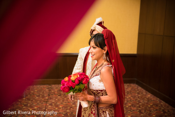 First Look in Glendale, CA Indian Fusion Wedding by Gilbert Rivera Photography