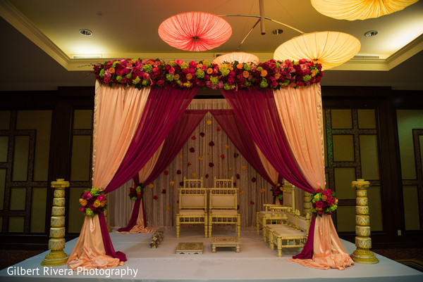 Mandap in Glendale, CA Indian Fusion Wedding by Gilbert Rivera Photography