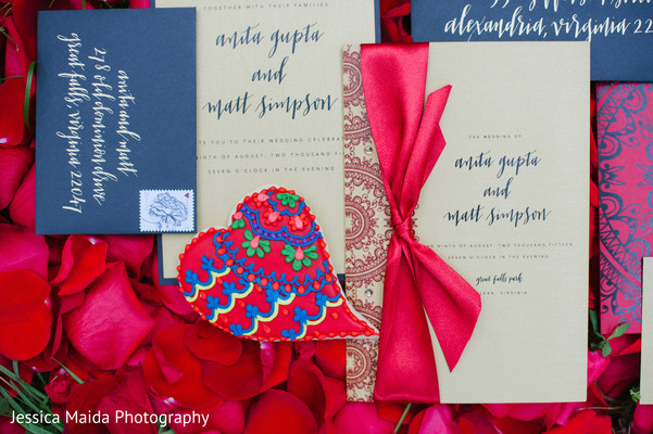 Wedding Stationery in Washington, D.C. Indian Fusion Wedding Styled Shoot by Jessica Maida Photography