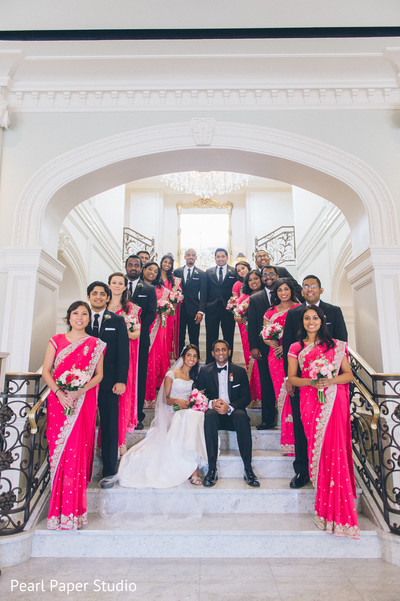 first look,first look portraits,portraits,outdoor portraits,outdoor,white wedding dress,suit,bridal bouquet,bridal party,bridesmaids,sari,saris,groomsmen,suit and tie