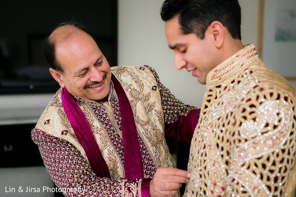 Groom Getting Ready in Dana Point, CA Indian Wedding by Lin & Jirsa Photography
