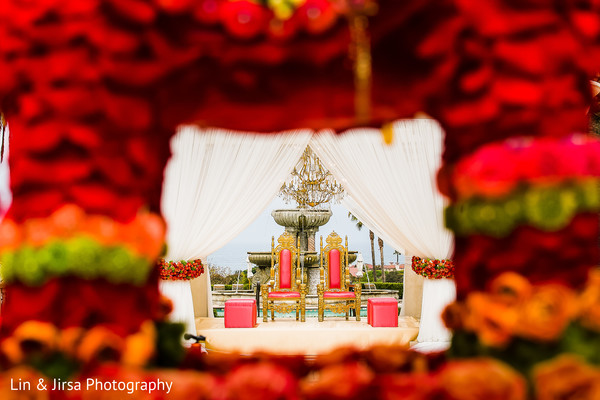 Ceremony Decor in Dana Point, CA Indian Wedding by Lin & Jirsa Photography