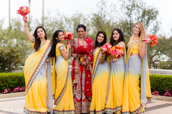 Bridal Party in Dana Point, CA Indian Wedding by Lin & Jirsa Photography