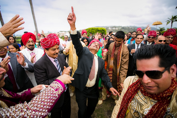 Baraat in Dana Point, CA Indian Wedding by Lin & Jirsa Photography