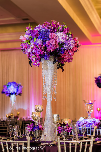 Centerpiece in Dana Point, CA Indian Wedding by Lin & Jirsa Photography