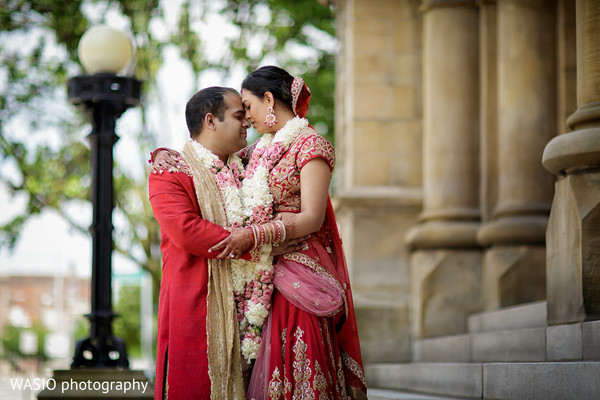 First Look in Columbus, OH Indian Wedding by WASIO Photography