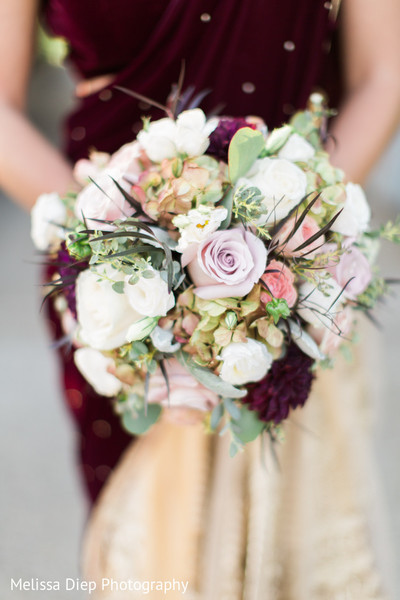 Bridal Party Bouquet in Lincolnshire, IL Indian Wedding by Melissa Diep Photography