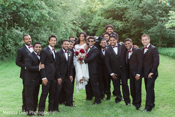 Groomsmen Portrait in Lincolnshire, IL Indian Wedding by Melissa Diep Photography