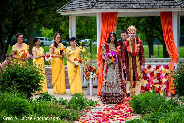 fusion,outdoor,ceremony,outdoor ceremony,indian fusion wedding ceremony,bridal fashion,lengha,groom fashion,sherwani,bridal bouquet
