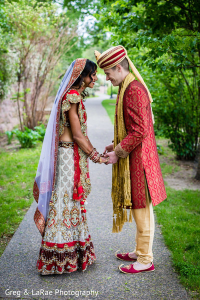 first look,first look portraits,portraits,outdoor,outdoor portraits,bridal fashion,groom fashion,lengha,sherwani