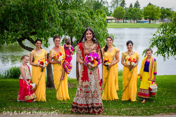 first look,first look portraits,portraits,outdoor,outdoor portraits,bridal fashion,lengha,bridal bouquet,bridesmaids,bridal party,saris,flower girls