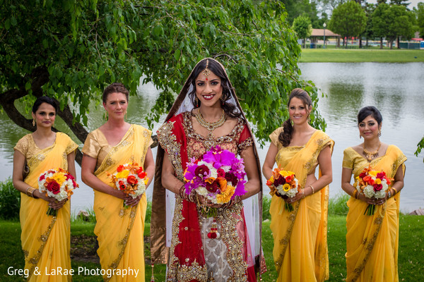 first look,first look portraits,portraits,outdoor,outdoor portraits,bridal fashion,lengha,bridal bouquet,bridesmaids,bridal party,saris