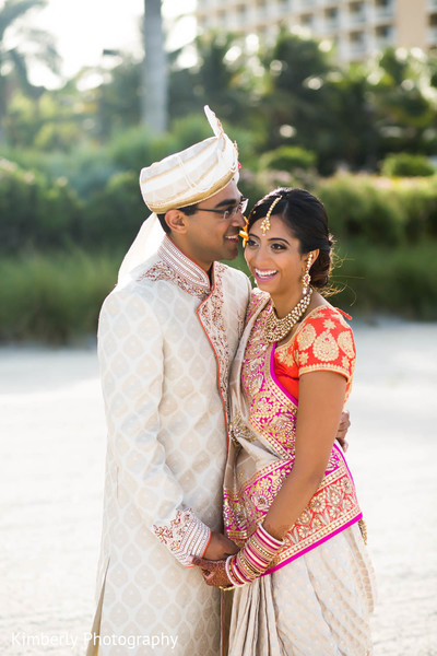 First Look in Marco Island, Florida Destination Indian Wedding by Kimberly Photography