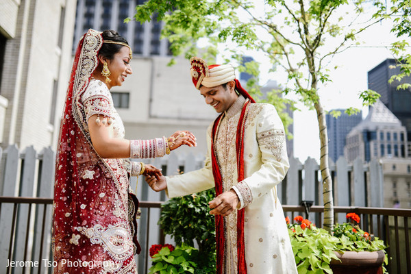 First Look in Seattle, WA South Asian Wedding by Jerome Tso Photography