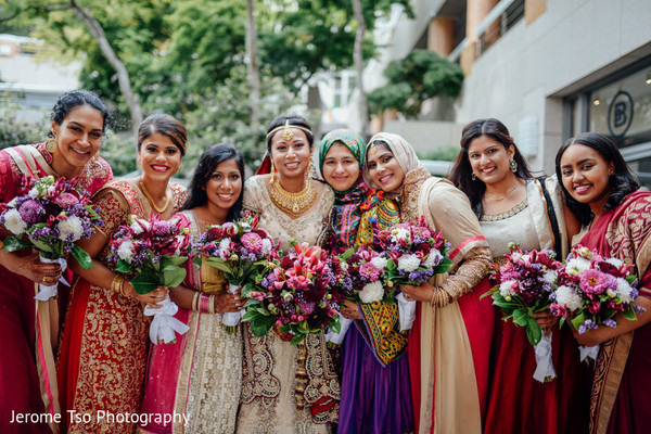 Bridal Party Portrait in Seattle, WA South Asian Wedding by Jerome Tso Photography