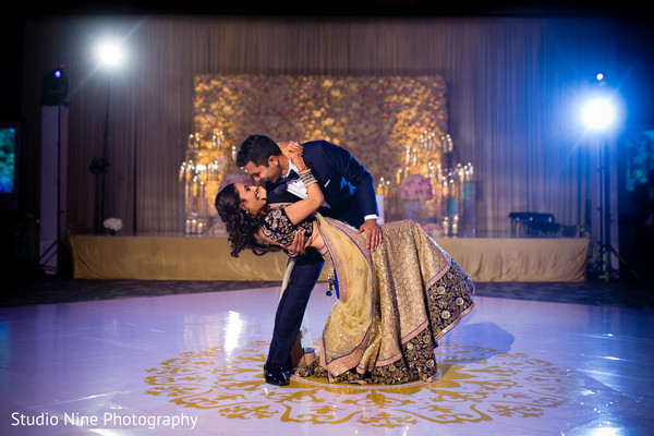 indian wedding reception,indian fusion wedding reception,indian bride and groom first dance