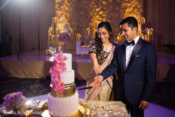 indian wedding reception,indian wedding cakes,caking cutting,indian bride and groom first dance,performers,indian fusion wedding reception