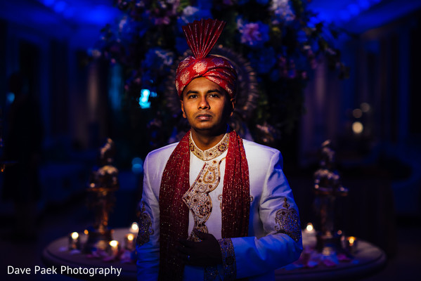 Groom Portrait in Woodland Park, NJ Indian Fusion Wedding by  Dave Paek Photography
