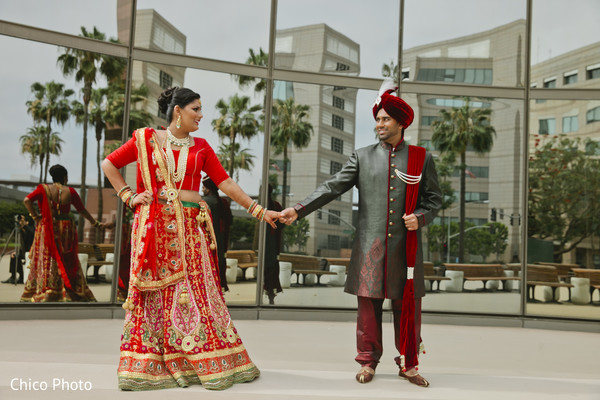 First Look in Long Beach, CA Indian Wedding by Chico Photo