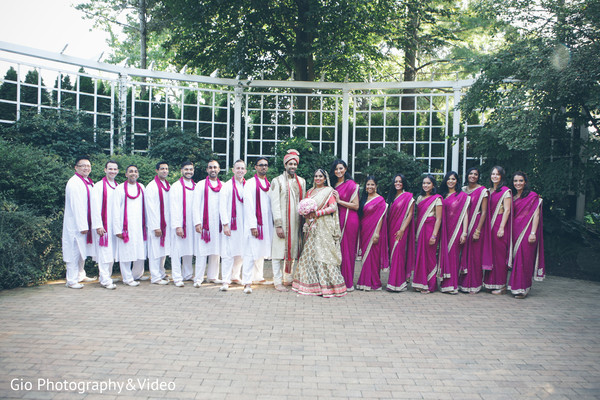 first look,first look portraits,portraits,outdoor portraits,bridal fashion,sari,saris,groom fashion,sherwani,groomsmen,bridal party bridesmaids