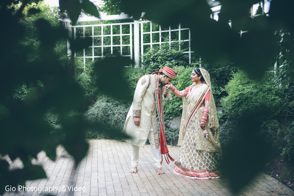 first look,first look portraits,portraits,outdoor portraits,bridal fashion,sari,saris,groom fashion,sherwani