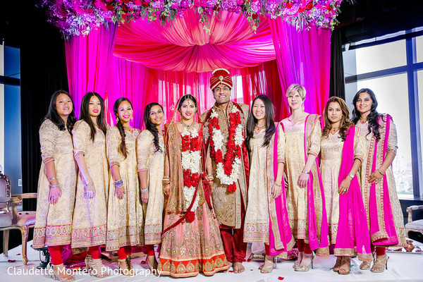 Bridal Party Portrait in New York, NY Indian Wedding by Claudette Montero Photography