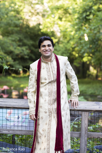 Groom Portrait in Bronx, NY Indian Wedding by Priyanca Rao Photography