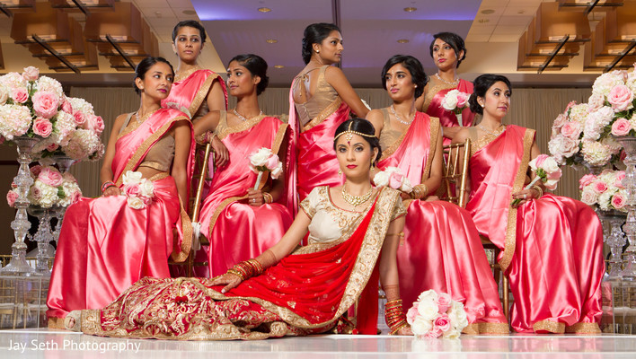 Bridal Party Portrait in Jersey City, NJ Indian Wedding by Jay Seth Photography