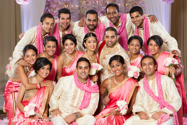 Wedding Party Portrait in Jersey City, NJ Indian Wedding by Jay Seth Photography