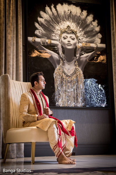 Groom Portrait in Chicago, IL Indian Wedding by Banga Studios
