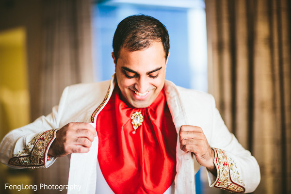 Groom Getting Ready in Atlanta, GA Indian Wedding by FengLong Photography
