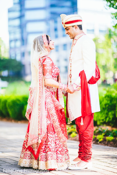 First Look in Atlanta, GA Indian Wedding by FengLong Photography