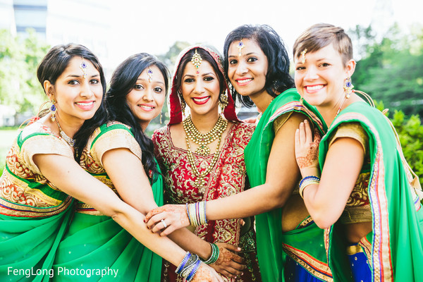 Bridal Party Portrait in Atlanta, GA Indian Wedding by FengLong Photography
